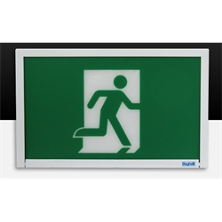 BEG  SELF POWERED LED STEEL RUNING MAN EXIT SIGN 120/347V UNV MTG.